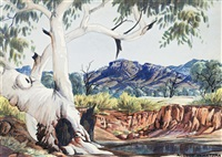 ghost gum and waterhole by albert namatjira