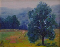cemetary (sic) hill; grey day, woodstock by henry james albright