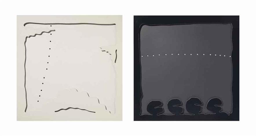 concetto spaziale teatrino bianco and concetto spaziale teatrino nero 2 works by lucio fontana