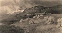 haystacks on a hillside near lake windermere, england by arthur tucker
