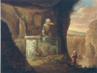 a huntsman and his dog in a cave by classical ruins, a river beyond by charles cornelisz de hooch