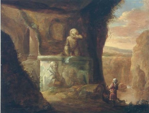 a huntsman and his dog in a cave by classical ruins a river beyond by charles cornelisz de hooch