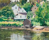 boat house, boothbay harbor by george oberteuffer