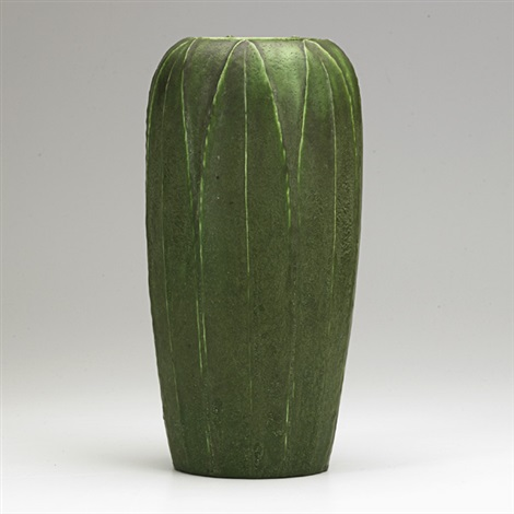 tall vase with leaves by wilhelmina post