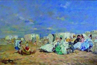 scène de plage en normandie : discussions by j. girardier