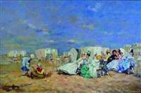 scène de plage en normandie : discussions by j. girardier