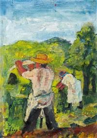 ländliches paar bei der heuernte by wilhelm thöny