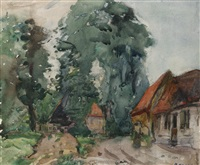trees and cottage by david davies