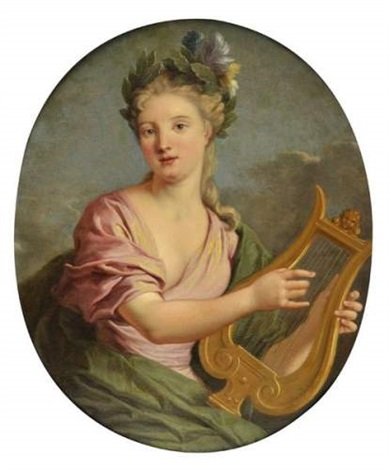jeune femme à la lyre by jean baptiste nattier