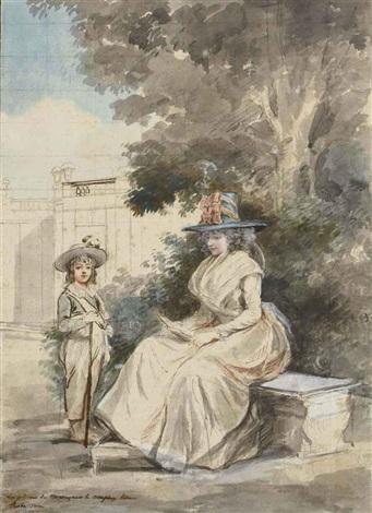 le dauphin et madame elisabeth dans un parc by antoine louis françois sergent marceau