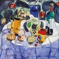 still life on round table by glen scouller