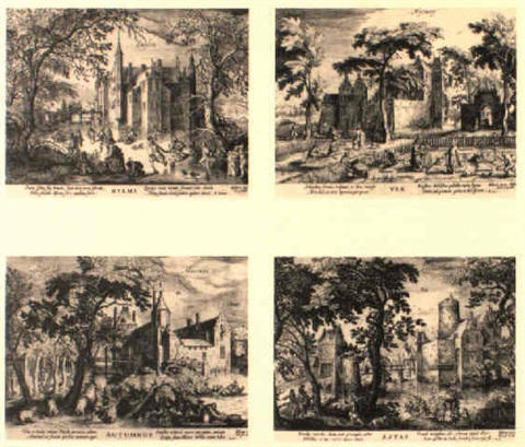 the four seasons views of castles in the vicinity of amsterdam by hessel gerrits