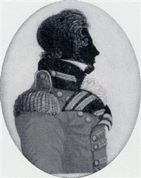 an officer with side-whiskers wearing a red coat with blue facings, gold lace, epaulettes and buttons by john buncombe