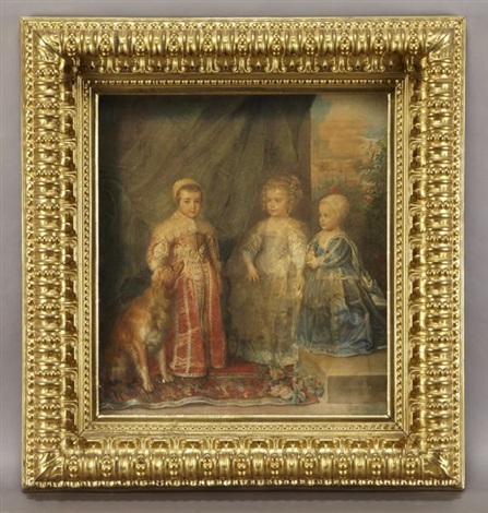 portrait of the three eldest children of charles i (after sir anthony van dyck) by a. galeotti