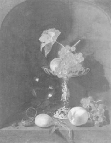 still life with a silver tazza, a watch, a glass and fruit by pieter van den bos