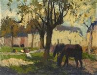 chevaux sous les pommiers by marcel couchaux