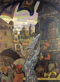 scène médievale russe, étude de décor by yuri roerich
