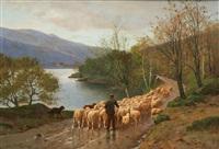 la conduite du troupeau au bord du lac by jules-g. bahieu