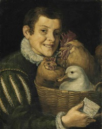 boy with a basket of poultry by vincenzo campi