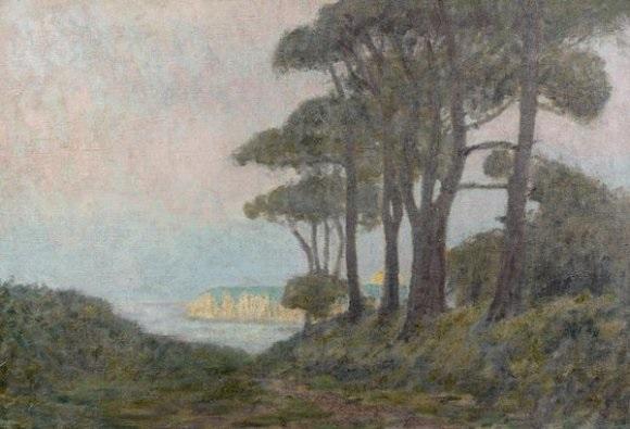 fôret de pins devant les falaises de dieppe by jean francis auburtin