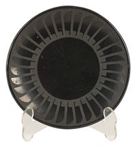 black plate with feather design by popovi da and maria martinez