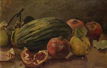 bodegón con melon y granadas by antonio amorós botella