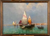 bateaux dans la lagune de venise by rafael senet y perez