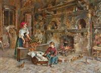 bäuerliches interieur mit familienidylle by e(ttore) ascenzi