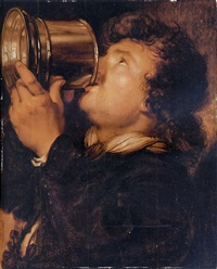 an allegory of taste: a young man drinking from a silver tankard by karel van mander iii
