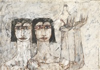 untitled (two women with dove) by jamil naqsh