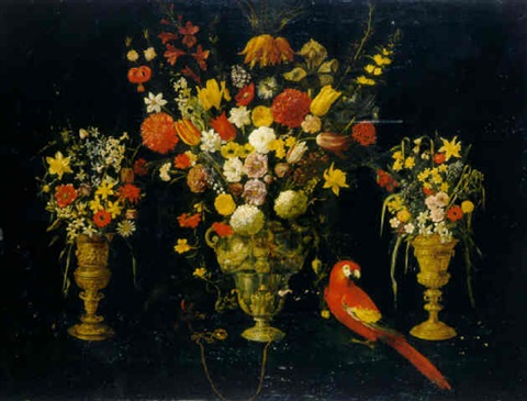 tulips carnations irises daffodils hyacinths and other flowers in three silver gilt standing cups with parrot and squirrel by astolfo petrazzi