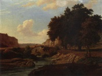 a shepherd and cattle crossing a bridge in an italianate landscape by pierre louis dubourcq