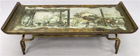 laverne patinated bronze imperial palace table c 1970 h 18 l 57