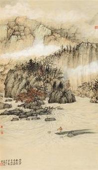 观音峡即景 立轴 设色纸本 by wu lifu