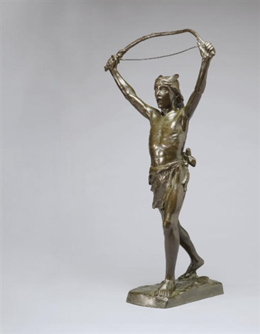 indian brave with bow by hubert paton