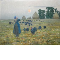 farm woman calling the turkeys by louis le poitevin