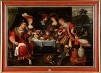 lazare et le mauvais riche by kaspar (jasper) van den hoecke