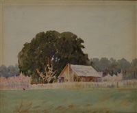 summer landscape with house by ora coltman
