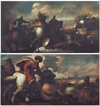 scontro di cavalieri turchi e cristiani (coppia di) by jacques courtois