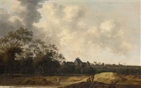 a view of the huis ter nieuburch near rijswijk, with peasants in the foreground by pieter cosyn
