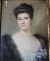 portrait de femme au collier de perles by marcel andre baschet
