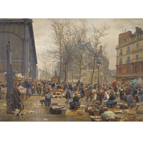 autumn market at les halles by marie françois firmin girard