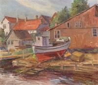 łódź na brzegu by stanislaw borysowski