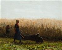 girls walking in a field with a wheelbarrow by johann jan zoetelief tromp