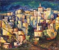village scene by isidor aschheim