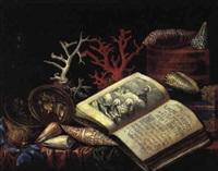 nature morte aux livres d'heures, coquillages et coraux by simon renard de saint-andre