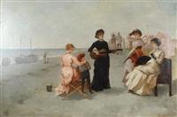 joueuse de guitare en bord de mer by theodore stacy