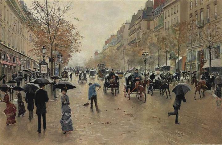 boulevard poissonnière en automne by jean béraud