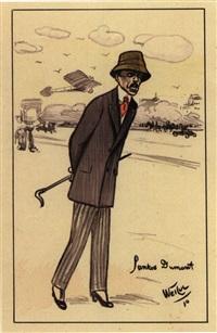 Albertos Santos-Dumont sur les Champs-Élysées, 1910