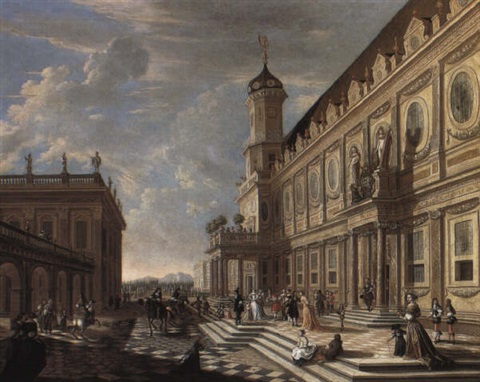 elegant company in the courtyard of a classical palace by wilhelm schubert van ehrenberg